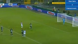 Gol di Mauro Icardi su rigore al 30° del primo tempo, Inter - Betis 1-0 [VIDEO]